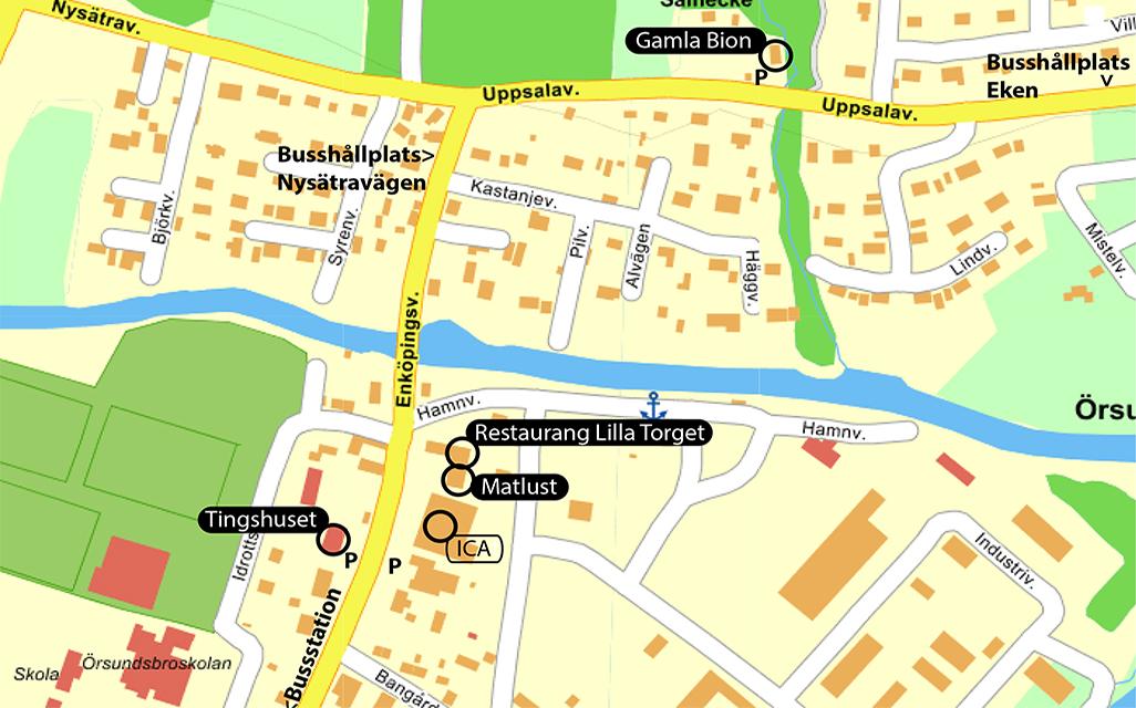 Örsundsbro aktuel karta
